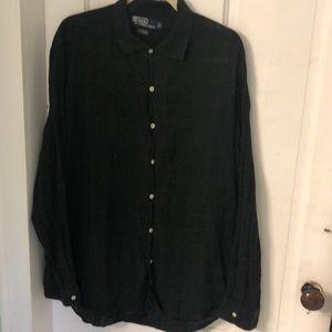 Light airy black on black plaid button down shirt
